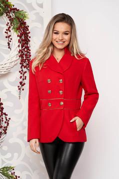 Jacheta LaDonna rosie scurta eleganta din material gros cu maneca lunga si inchidere cu nasturi aurii