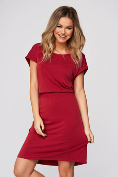 Red dress daily short cut straight with cut back