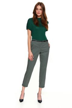 Pantaloni Top Secret negri casual cu un croi drept cu buzunare cu accesoriu tip curea si imprimeuri grafice