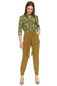 Pantaloni Top Secret verzi lungi casual cu talie inalta cu buzunare in fata accesorizati cu cordon