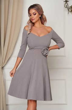 Dress StarShinerS grey occasional midi cloche scuba with flower shaped brestpin