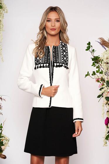 Sacou LaDonna alb scurt elegant cambrat din lana cu maneci lungi cu umerii buretati