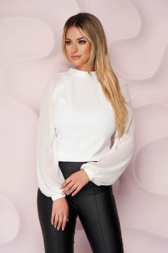 StarShinerS ivory women`s blouse elegant from elastic fabric long sleeved with easy cut