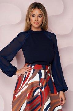 Bluza dama StarShinerS albastru-inchis eleganta din material elastic cu croi larg cu maneci lungi