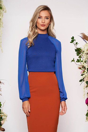 Bluza dama StarShinerS albastra eleganta din material elastic cu croi larg cu maneci lungi