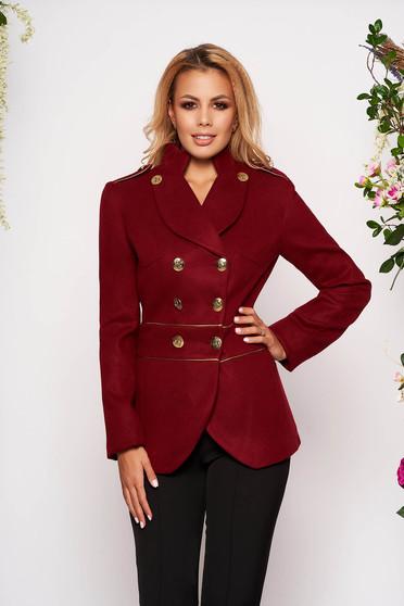 Jacheta LaDonna visinie eleganta scurta material gros cu maneca lunga inchidere cu nasturi aurii