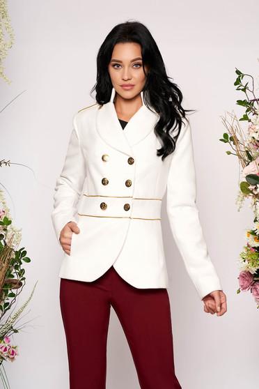 Sacou LaDonna alb elegant scurt material gros cu maneca lunga inchidere cu nasturi aurii
