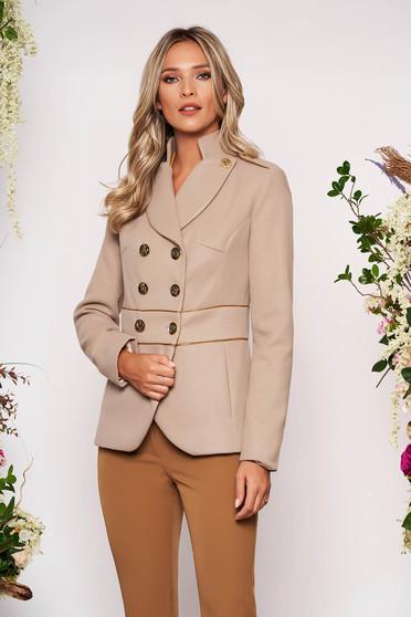 Jacheta LaDonna cappuccino eleganta scurta material gros cu maneca lunga inchidere cu nasturi aurii