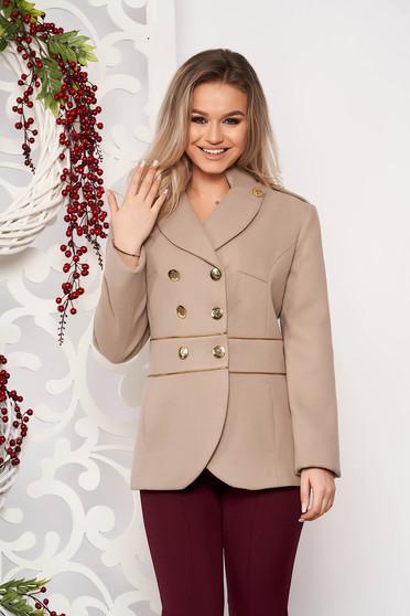 Jacheta LaDonna cappuccino scurta eleganta din material gros cu maneca lunga si inchidere cu nasturi aurii
