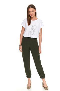 Pantaloni Top Secret verzi casual lungi cu talie inalta si buzunare