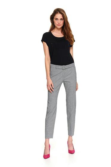 Pantaloni Top Secret negri lungi office cu talie medie cu accesoriu tip curea si buzunare false la spate