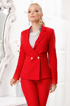 Red jacket elegant short cut tented cloth with padded shoulders closure with gold buttons