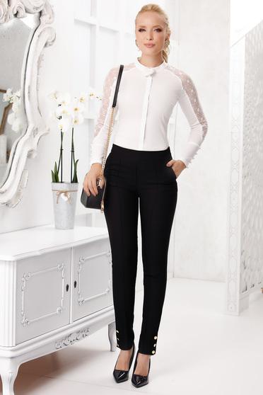 Pantaloni Fofy negri lungi eleganti conici din stofa material subtire cu buzunare accesorizati cu nasturi