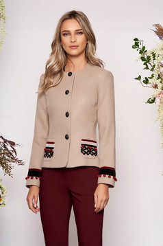 Sacou LaDonna cappuccino din lana cambrat elegant tip blazer cu aplicatii cusute manual