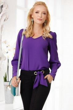 Bluza dama Fofy mov eleganta cu croi larg din voal gros cu decolteu in v si accesoriu inclus