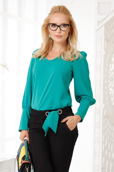 Bluza dama Fofy verde eleganta cu croi larg din voal gros cu decolteu in v si accesoriu inclus