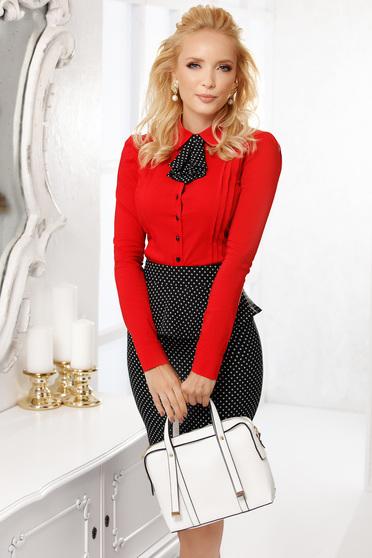 Camasa dama Fofy rosie scurta eleganta mulata din bumbac cu accesoriu tip cravata