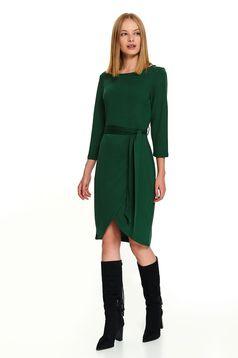 Rochie Top Secret verde scurta casual petrecuta cu maneci lungi accesorizata cu cordon