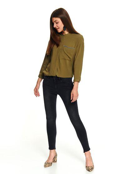 Pantaloni Top Secret graphitegrey lungi casual conici din bumbac cu talie medie cu buzunare in fata si in spate