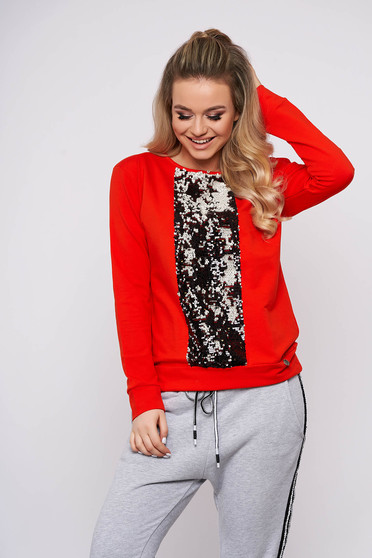 Bluza dama portocalie scurta casual cu croi larg cu maneci lungi si aplicatii cu paiete