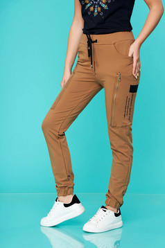 Cappuccino trousers casual long cotton high waisted with elastic waist lateral pockets