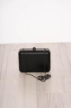 Geanta dama neagra de ocazie din imitatie de piele cu lantisor detasabil si inchidere cu o capsa