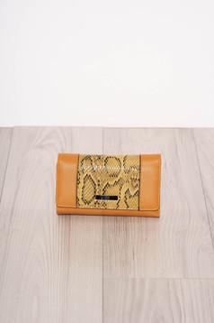 Portofel mustariu snake print cu mai multe compartimente si inchidere cu capsa magnetica