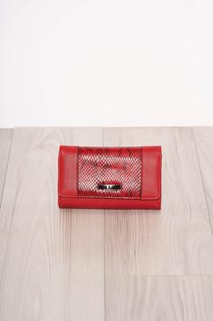 Portofel rosu snake print cu mai multe compartimente si inchidere cu capsa magnetica