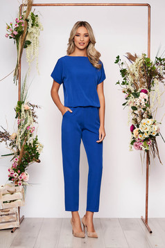 Salopeta albastra lunga eleganta de ocazie cu elastic in talie si maneci scurte