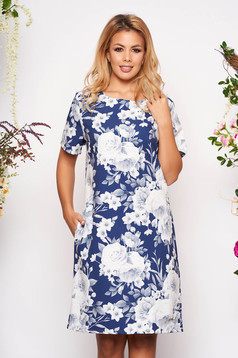 Blue dress elegant short cut a-line with pockets short sleeves scuba with floral print