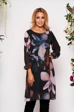Rochie albastra eleganta scurta din voal cu maneci lungi din voal cu imprimeu floral captusita pe interior