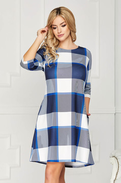 Blue dress casual daily short cut a-line with pockets without clothing
