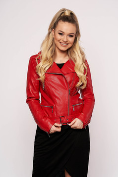 Red jacket casual short cut faux leather with zipper details pockets
