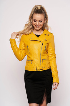 Mustard jacket casual short cut faux leather with zipper details pockets