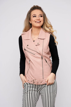 Lightpink gilet casual faux leather sleeveless with pockets zipper fastening