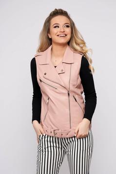 Vesta roz prafuit SunShine casual din imitatie de piele fara maneci cu buzunare si inchidere cu fermoar