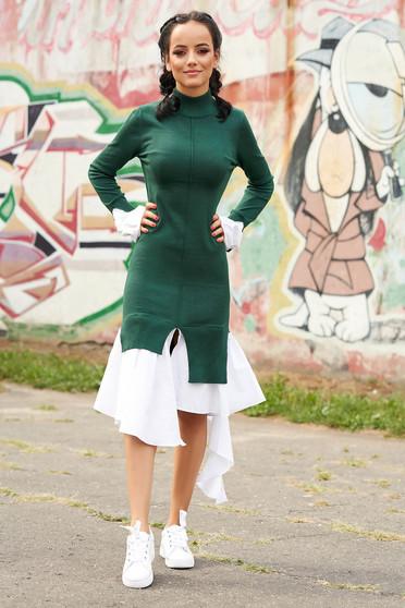 Rochie SunShine verde casual pe gat asimetrica cu maneca lunga tip clopot din bumbac subtire