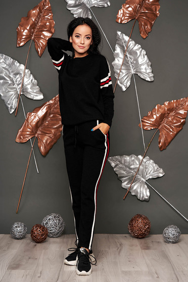 Set SunShine negru casual din 2 piese cu pantaloni din material tricotat