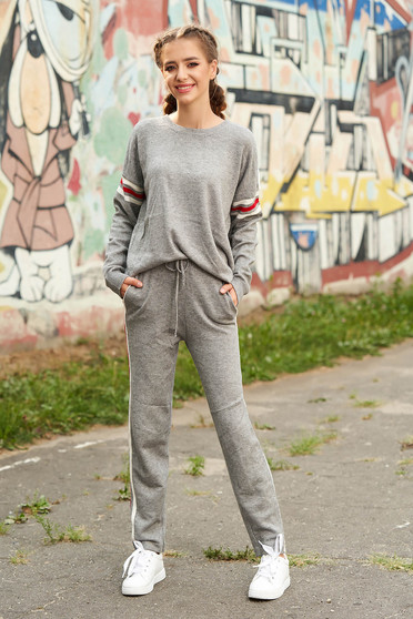 Set SunShine gri casual din 2 piese cu pantaloni din material tricotat