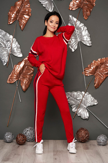 Set SunShine rosu casual din 2 piese cu pantaloni din material tricotat