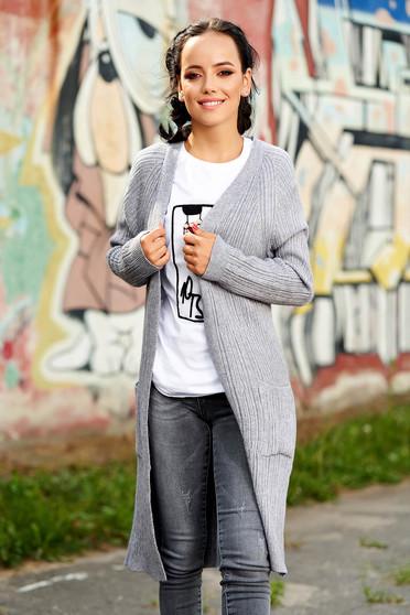 Cardigan SunShine gri lung casual tricotat cu buzunare in fata fara inchidere