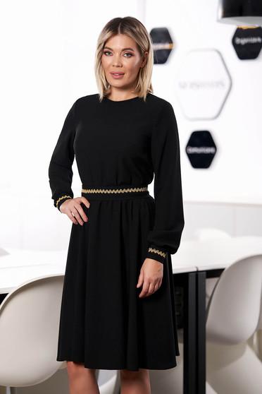 Rochie StarShinerS neagra eleganta midi in clos cu elastic in talie fara captuseala cu maneci lungi si cordon detasabil