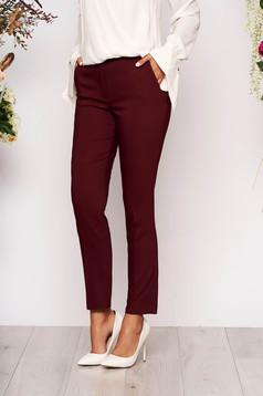 Pantaloni visinii lungi eleganti cu talie medie conici din stofa subtire cu buzunare