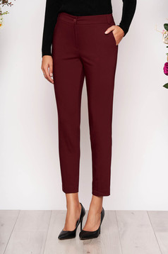 Burgundy trousers elegant conical long medium waist cloth with pockets
