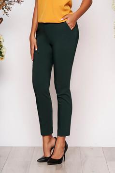 Pantaloni verde inchis lungi eleganti cu talie medie conici din stofa subtire cu buzunare