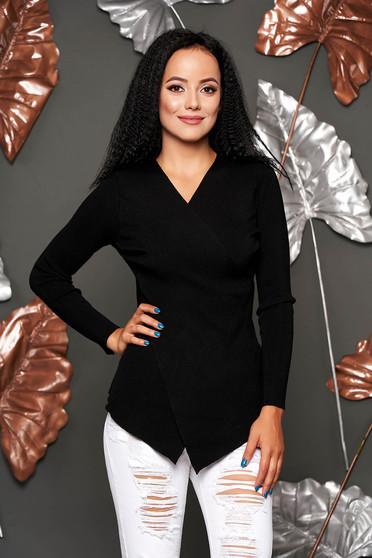 Pulover SunShine negru casual mulat asimetric din material reiat tricotat cu decolteu in v