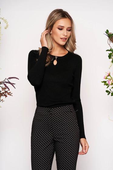 Pulover SunShine negru scurt casual tricotat cu decolteu rotunjit cu fundita