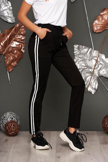 Pantaloni SunShine negri conici casual cu talie medie cu elastic in talie cu snur in talie cu buzunare