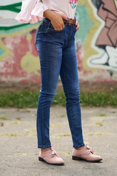 Blugi SunShine albastri casual clasici cu talie medie si curea din imitatie de piele