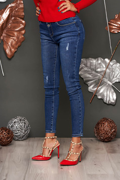 Blugi SunShine albastru-inchis casual skinny cu talie joasa din denim cu mici rupturi de material